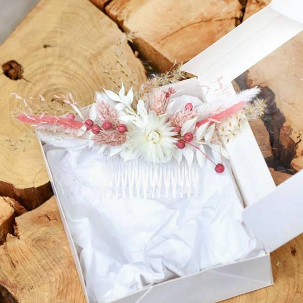 Trockenblumen Haarkamm Braut | Haarschmuck Trauzeugin | Hochzeit | Rosa Versuchung | weiss-rosa