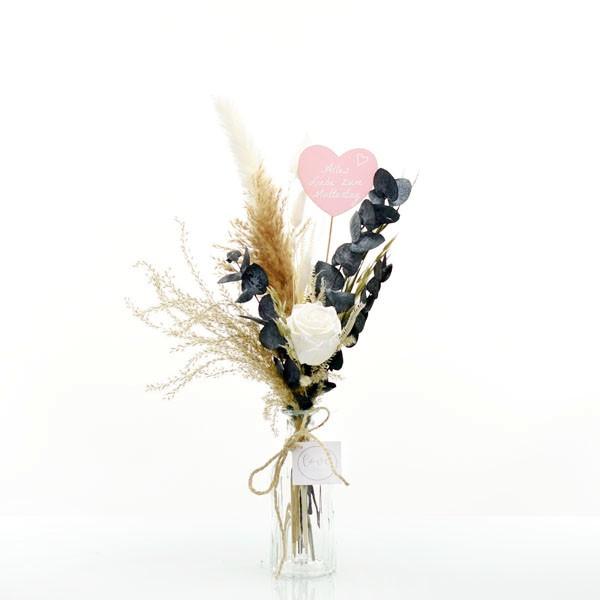 Trockenblumenstrauß Weiße Liebe mit Infinity Rose weiß | mit Herzstecker Muttertag und Flaschenvase