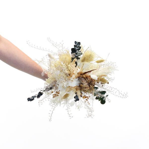 Trockenblumenstrauß Heimatliebe M | Trockenblumen weiss-natur-braun-grün