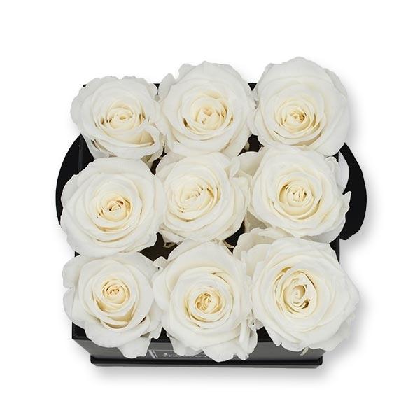 Rosenbox Infinity Rosen weiss   Flowerbox eckig   M Modern black