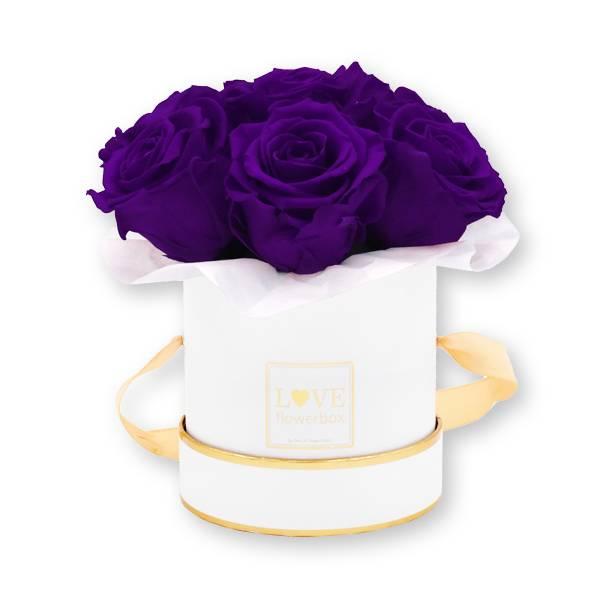 Flowerbox Bouquet gold   Small   Rosen Lilac (Dunkellila)