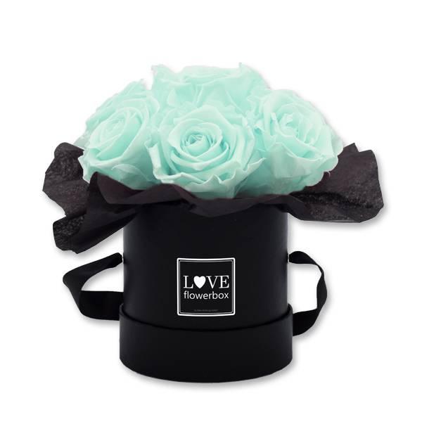 Flowerbox_Kugelfoermig_bouquet_Rund_Small_schwarz_Infinity_Rosen_minty_green_mint_gruen.jpg