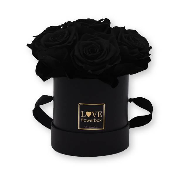 Flowerbox Bouquet gold | Small | Rosen Black (Schwarz)