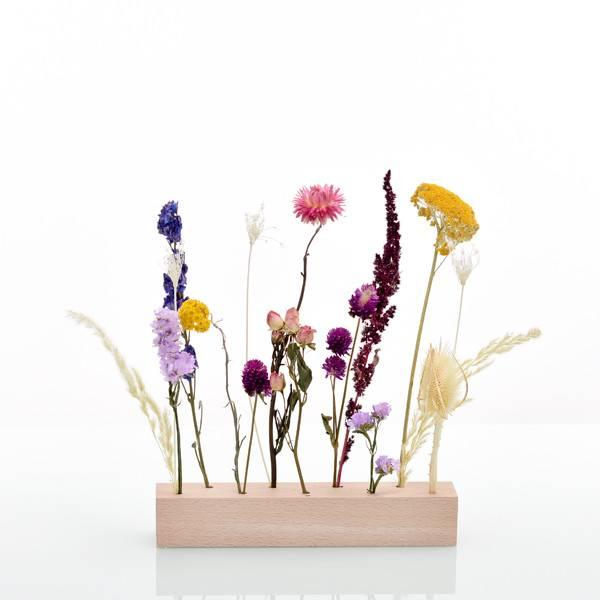 Trockenblumen | Blütenleiste | Holzleiste | Sommerwiese | gelb-rosa-pink-blau-flieder | Geschenk | Geschenkidee