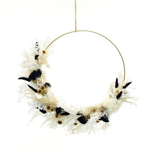 Trockenblumenkranz | Hoop | Schwarz-Weiss | gold 40 cm | Trockenblumen weiss-natur-schwarz