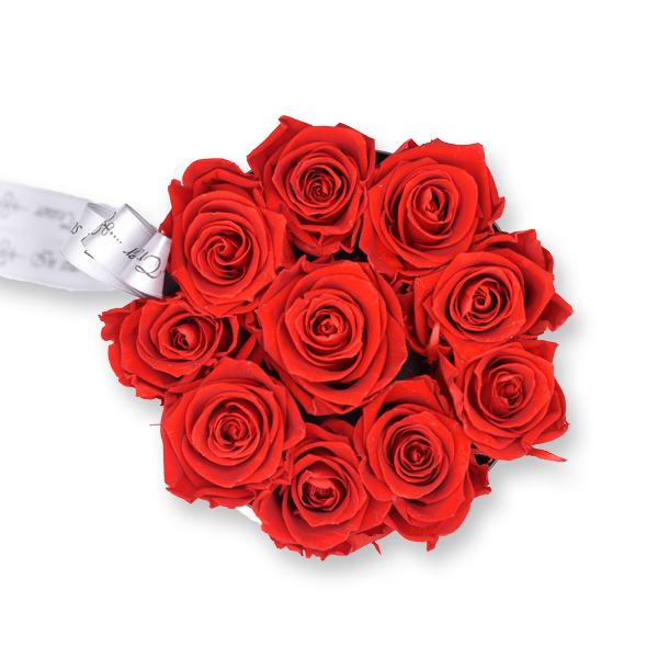 Rosenbox Trauer Infinity Rosen rot | Medium | Beerdigung Trauerfeier | Geschenk Beerdigung