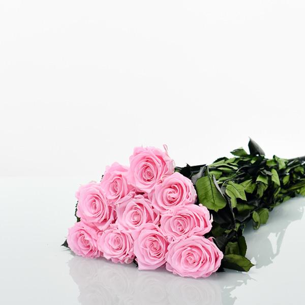Rosenstrauß | Blumenstrauß mit 10 langstieligen Infinity Rosen | rosa