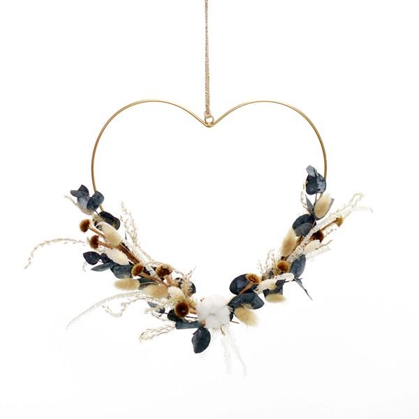 Herz mit Trockenblumen Natur Pur | Metall gold 30cm | Eukalyptus
