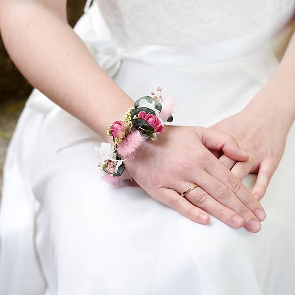 Trockenblumen Armband Braut | Trauzeugin | Hochzeit | Zarte Liebe | weiss-rosa-pink-grün | Eukalyptus, Lagurus, Rosen, Schleierkraut