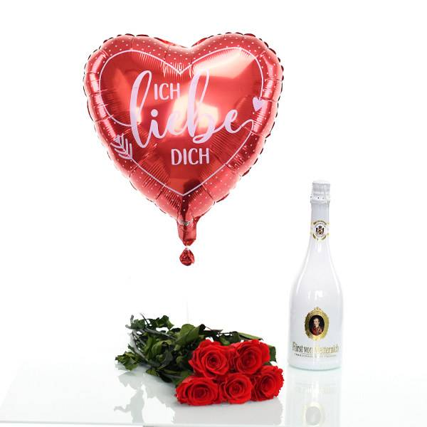Flowerbox Set Langstiel Rose 5 Stück | Rosen Vibrant Red | Heliumballon | Sekt