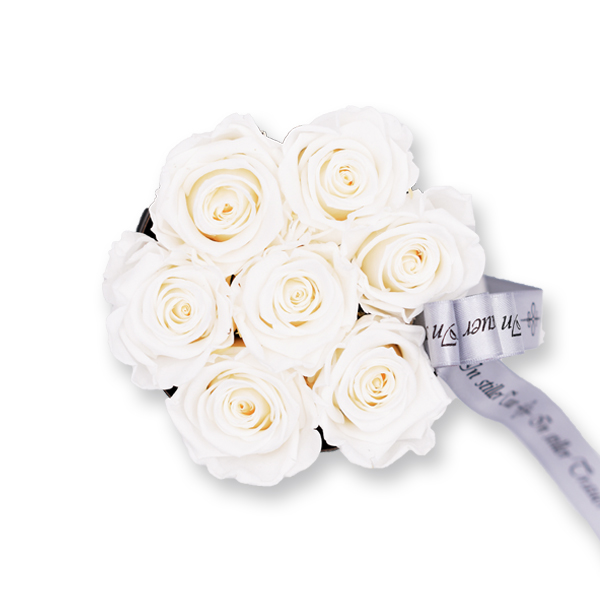 Rosenbox Trauer Infinity Rosen weiß   Small   Beerdigung Trauerfeier   Geschenk Beerdigung
