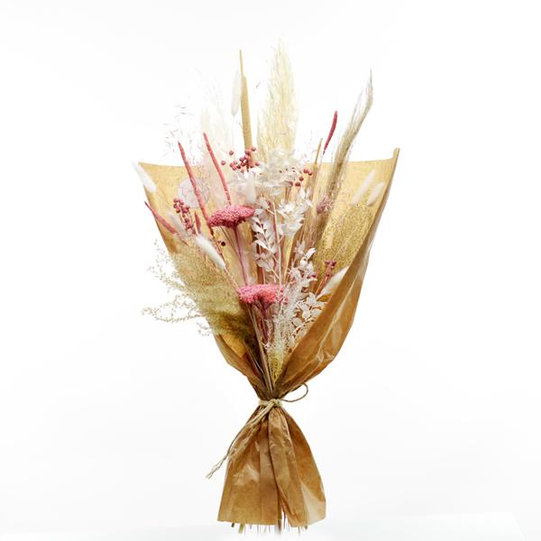 Trockenblumenstrauß Rosa Versuchung L | Trockenblumen weiss-rosa-pastell