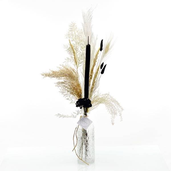 Trockenblumenstrauß schwarz-weiss mit Flaschenvase   natur