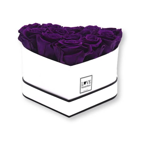 Rosenbox Herz Infinity Rosen dunkel lila   Flowerbox Herzbox   M weiss