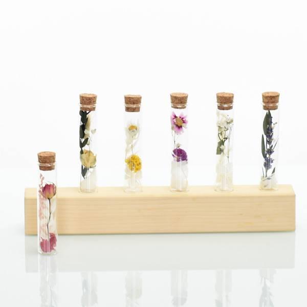 Gastgeschenk Trockenblumen Reagenzglas |  weiss-rosa-altrosa (5er-Set) | Gastgeschenk Trockenblumen Hochzeit | Ruskus, Rose, Hortensie