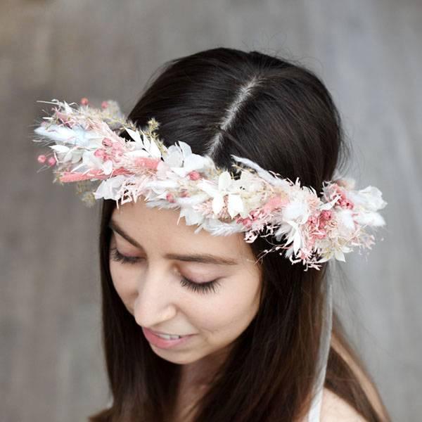 Trockenblumen Kopfkranz Braut | Hochzeit | Rosa Versuchung | Trockenblumen weiss-rosa