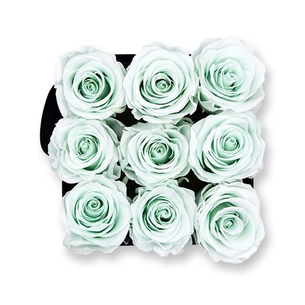 Rosenbox Infinity Rosen mint grün | Flowerbox eckig | M Modern black