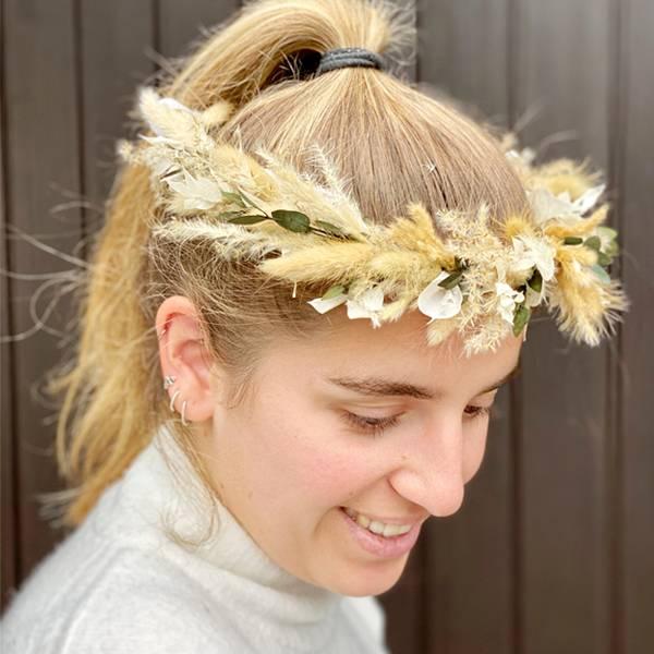 Trockenblumen Kopfkranz Braut | Trauzeugin |Hochzeit |  Boho Liebe | natur | Pampasgras, Lagurus, Ruskus, Eukalyptus