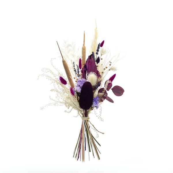 Trockenblumenstrauß Beerige Romanze M   Trockenblumen weiss-flieder-lila   Pampasgras, Eukalyptus,  Palmspear, Schilfkolben
