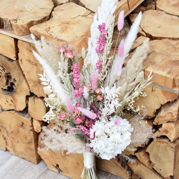 Trockenblumen Brautstrauß | Traumfarben | weiss-rosa-pink