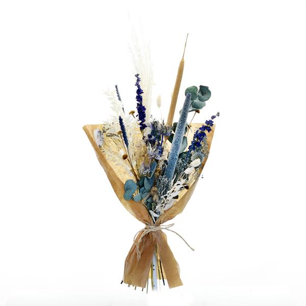 Trockenblumenstrauß Wasserspiel M | Trockenblumen weiss-natur-blau