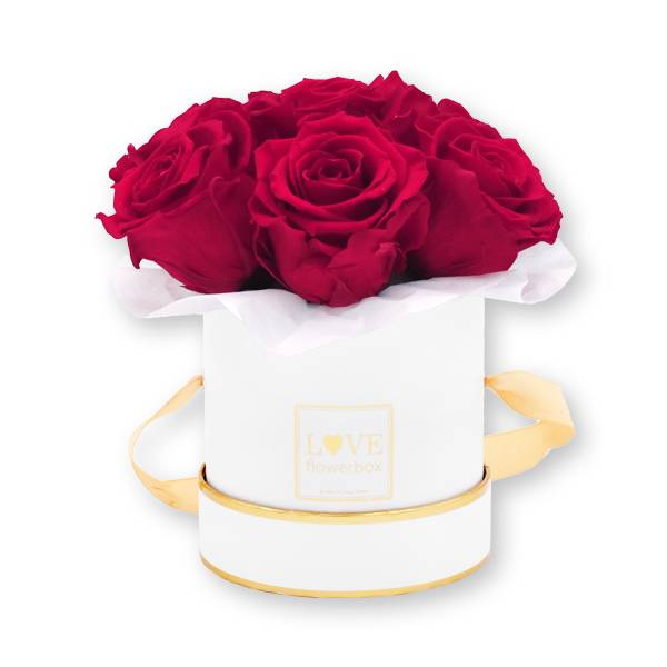 Flowerbox Bouquet gold | Small | Rosen Raspberry (Himbeere)
