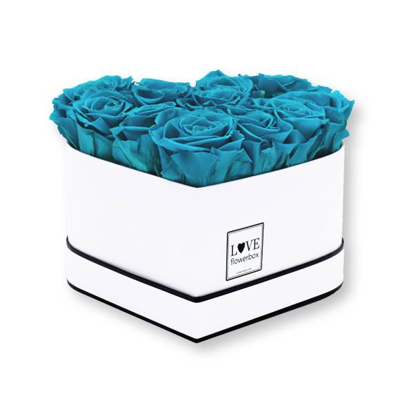 Flowerbox Herz | Medium | Rosen Aqua (Türkis)
