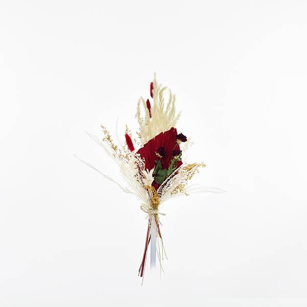 Trockenblumenstrauß Rote Verführung S | Trockenblumen weiss-natur-rot | Pampasgras, Babala, Palmspear