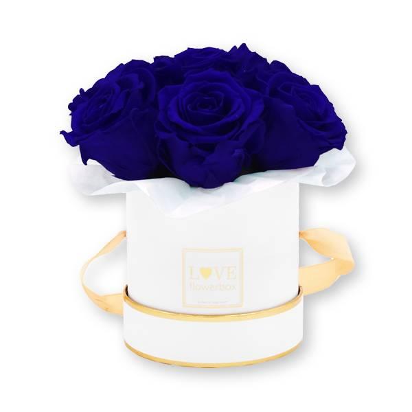 Flowerbox_rosenbox_blumenbox_rund_Small_weiss_gold__Bouquet_Infinity_Rosen_DarkBlue_dunkelblau_1.jpg