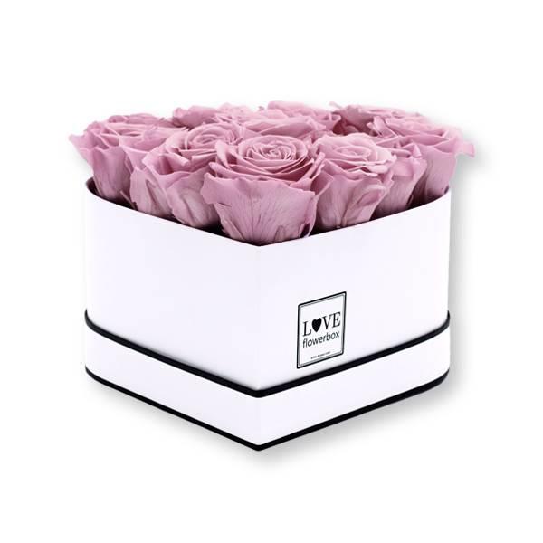 Rosenbox Herz Infinity Rosen altrosa   Flowerbox Herzbox   M white