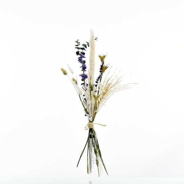 Trockenblumenstrauß Sommerwind S  | Trockenblumen weiss-natur-blau-grün | Pampasgras, Eukalyptus, Rittersporn