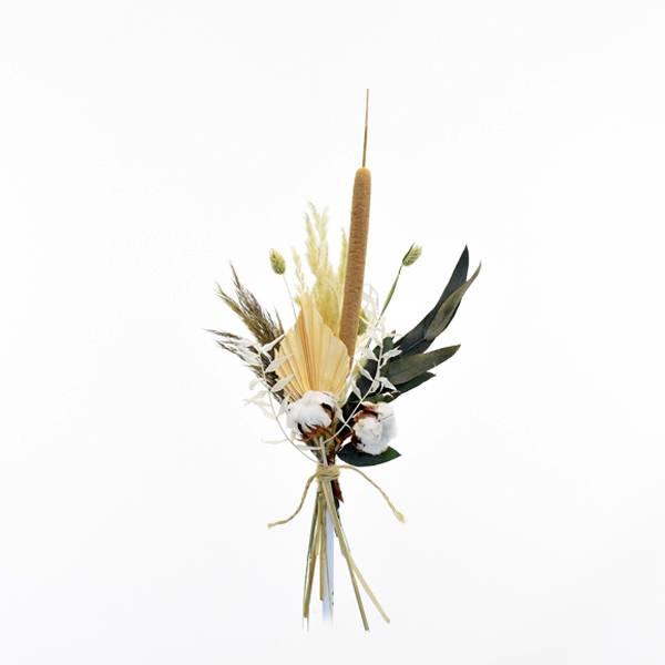 Trockenblumenstrauß Wilde Liebe S | Trockenblumen weiss-natur-grün-braun | Pampasgras, Eukalyptus, Schilfkolben