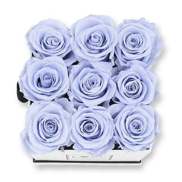 Rosenbox Infinity Rosen lavendel   Flowerbox eckig   M Modern white