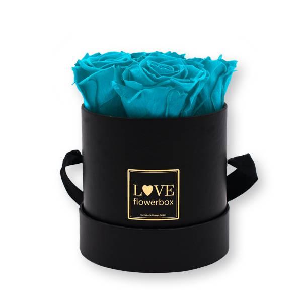 Flowerbox_rosenbox_blumenbox_rund_Small_schwarz_gold_Infinity_Rosen_aqua_tuerkis.jpg