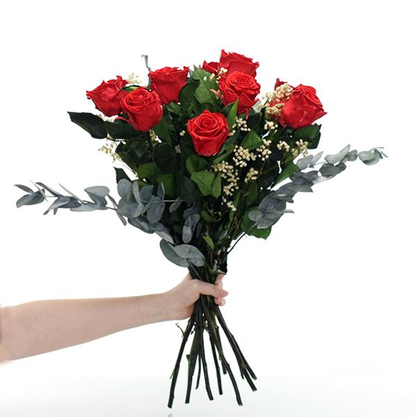 Rosenstrauß | Blumenstrauß mit 10 langstieligen Infinity Rosen + Schleierkraut | Rot