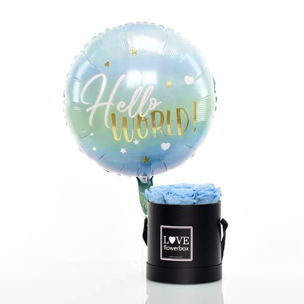 Flowerbox Set Modern | Medium | Rosen Baby Blue | Heliumballon