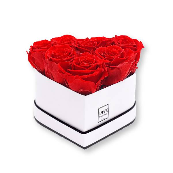 Rosenbox Herz Infinity Rosen rot | Flowerbox Herzbox | Small white