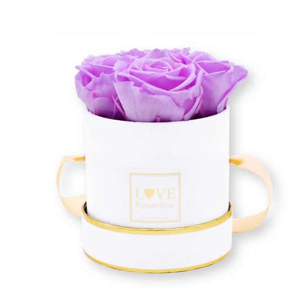 Flowerbox_rosenbox_blumenbox_rund_Small_weiss_gold_Infinity_Rosen_babylili_flieder.jpg
