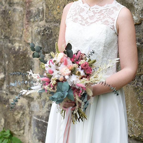 Trockenblumen Brautstrauß | zarte Liebe | weiss-rosa-pink