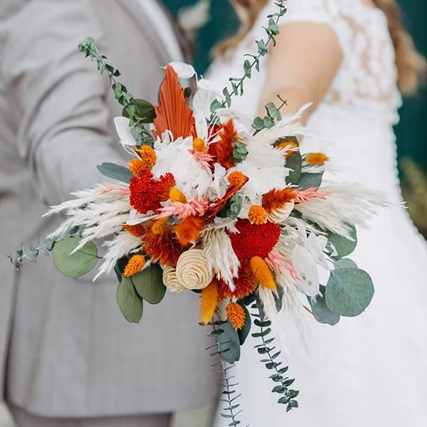 Trockenblumen Brautstrauß   Brautstrauss Trockenblumen   amber orange