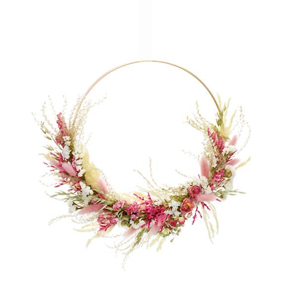 Trockenblumenkranz | Hoop | Traumfarben | gold 30 cm | Trockenblumen weiss-natur-rosa-pink | Pampasgras, Rosen, Lagurus, Statice, Fluffy Reed Gras