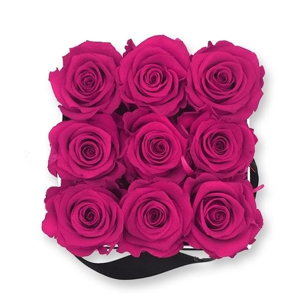 Rosenbox Infinity Rosen himbeere | Flowerbox eckig | M Modern white
