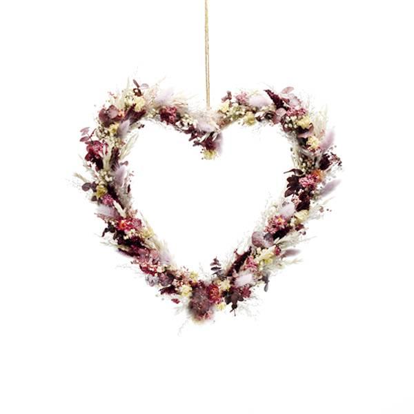 Trockenblumenherz Naturschönheit 30 cm | Trockenblumen weiss-rosa-flieder-beere