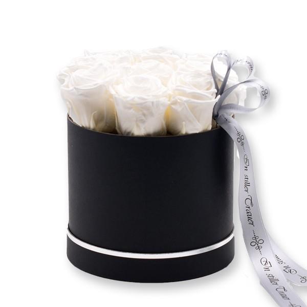 Rosenbox Trauer Infinity Rosen weiß   Medium   Beerdigung Trauerfeier   Geschenk zur Beerdigung