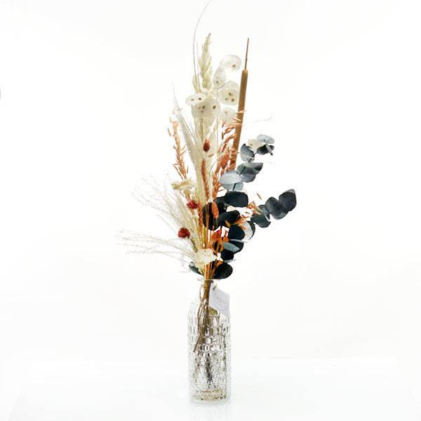 Trockenblumenstrauß Pastellzauber mit Flaschenvase | Trockenblumen weiss-aprikot