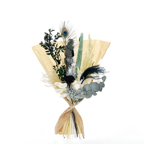 Trockenblumenstrauß Pfauenzauber M | Trockenblumen weiss-natur-grün