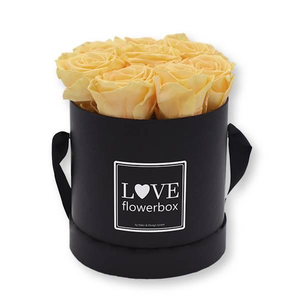 Flowerbox_rosenbox_blumenbox_rund_Medium_schwarz_Infinity_Rosen_peach_aprikot_pfirsich.jpg