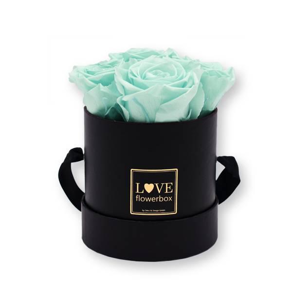 Flowerbox_rosenbox_blumenbox_rund_Small_schwarz_gold_Infinity_Rosen_mintygreen_mint.jpg