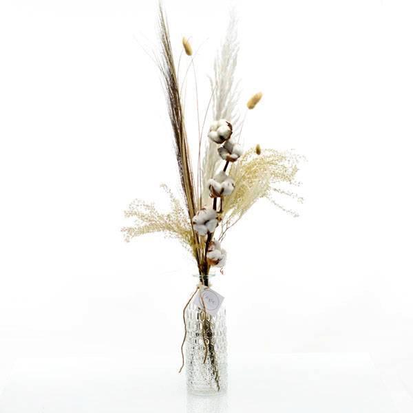 Trockenblumenstrauß Naturglück mit Flaschenvase | weiss-natur-braun