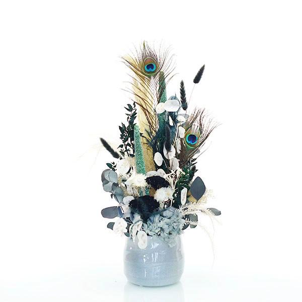 Trockenblumen Gesteck | Keramik Topf grau | Pfauenzauber | grau-grün-natur